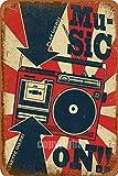 Music Paly Kassette, Metall-Stil, Straßenschild, Garage, Club, Bar, Diner Familie, Bauernhaus, Outdoor-Dekoration, 20,3 x 30,5