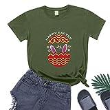 BUKINIE Damen-T-Shirt mit Häschen-Aufdruck, O-Ausschnitt, locker, weich, kurze Ärmel, Sommer-Top, legere Outdoor-Bluse, Übergröße Gr. X-Large, armee-grün