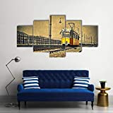 JJJKK Straßenbahn kommt nach Ungarn Leinwandbilder 150x80 cm Vlies Leinwandbild 5 teilig kunstdrucke modern wandbilder XXL Wanddekoration Design wandb