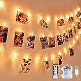 LED Fotoclips Lichterkette, mehrweg 5 Meter/Lichterketten-8 Modi 40 Foto-Clips, USB/Batteriebetrieben Stimmungsbeleuchtung,Dekoration für Wohnzimmer,Weihnachten,Hochzeiten,Party
