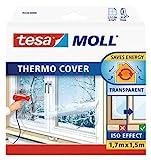 tesamoll Thermo Cover Fenster-Isolierfolie - Transparente Isolierfolie zur Wärmedämmung an Fenstern - Inklusive praktischer Klebelösung - 1,7 m x 1,5 m