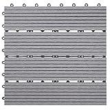 Mendler WPC Bodenfliese Rhone, Holzoptik Balkon/Terrasse, 11x je 30x30cm = 1qm linear - Basis, g
