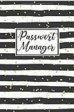 Passwort Manager: Logbuch für Zugangsdaten mit a-z Register • 6x9 (ca. Din A5) Format • Persönlicher Offline Passwort Organizer • Heft zum Eintragen • Motiv: Streifen und goldene Punkte