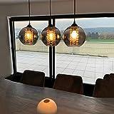 LED Kristall Pendelleuchte esstisch Pendellampe Esszimmer Höhenverstellbar Kronleuchter Hängeleuchte 3-Flammig aus Glas in Farbe Grau Küchen Wohnzimmerlampe Schlafzimmerlampe Flurlamp