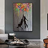 WZRY Leinwandbild, Motiv: Banksy Ballon, Mädchen, abstrakter Stil, Graffiti-Druck, modern, Street Art (S20 x 30 cm), ohne Rahmen)