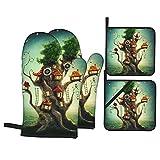 4Pcs Ofenhandschuhe und Topflappen Set,Märchenhaftes magisches Baumhaus in der Wiesen-Abenteueruhr,Hitzebeständige Küchenhandschuhe zum Kochen,Backen,Grillen,Grillen