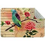Bennigiry Teppich für Wohnzimmer, Schlafzimmer, Spielzimmer, rote Vögel, Rosen, Musiknoten, Vintage-Stil, 78,7 x 50,8