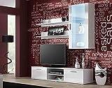 Wohnwand SOHO 10 mit Blauer LED Beleuchtung, Anbauwand, Wohnzimmerschrank, Schrankwand, Vitrine, Lowboard, Hängeregal (Weiß/Weiß Hochglanz)