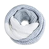 Neverless® Damen Loopschal Strickschal Schlauchschal Winterschal Grobstrick zweifarbig hellblau-weiß