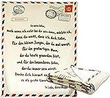 FCREW Deutsche Buchstaben Decke EIN Mein Sohn Decke an Meinen Sohn, Super Weiche Decke Flanelldecke Winterwärme Weiche Postdecke für Schlafzimmer Wohnwärme Wohn Kuscheldecken, Decke Mutter an Sohn