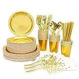 GOUM-SM Stempelplatten Einweg Goldene Tassen Papierservietten Partyteller Happy Birthday Party Decor Erwachsene Hochzeitsgerichte Geschirr