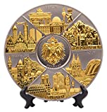 Wandteller metall Deutschland Durchmesser 14cm Souvenir als Geschenk (Silber-Gold, Durchmesser: 14cm)