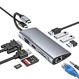 USB C Hub,11-in-1-Adapter Typ C mit 4K-HDMI,1080P-VGA,3 USB 3.0, 1 USB 2.0,USB-C-Stromversorgung,RJ45-Gigabit-Ethernet,SD/TF-Kartenleser, 3,5-mm-Audiobuchse für Macbook Weitere Geräte vom Typ C