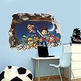 Wandsticker Tätowierungen Patrol Paw Chart 3D Wandaufkleber Hund Marshall Wall Decal Kinderzimmer U