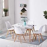 H.J WeDoo Rechteckig Esstisch Küchentisch Buchenholz für 4 Stühle Esszimmertisch Tisch mit Holzbein MDF Weiß 110 x 70 x 75
