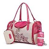 WYZHAO ZNXHQY Reiseführer Hundetaschen Tragbare Paket Print Blume Haustier Schulter trägt Handtasche für kleine Katzen Hunde (Color : Red, Size : L 34x22x20 cm)