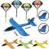 JOYIN 8 Stück 2 in 1 Schaumstoff-Segelflugzeug und Fallschirm-Spielzeug-Kombi-Set, 2 Flugmodus-Segelflugzeuge, Wurfflugzeuge und Fallschirme, Manuelles Wurfspiel, Flugspielzeug für Kinder im Freien