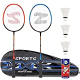 Fostoy Badmintonschläger Set, 2 Pack Badmintonschläger mit 3 Federbällen & Tragetasche & 2 Overgrip, Leichter Carbon Badmintonschläger für Indoor Outdoor Sportspiele, Blau und Rot