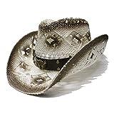 ZZQQ Sonnenhut Sonnenhut Unisex Vintage breiter Krempe Stroh Sun Beach Cowboy Cowgirl Westernhut mit Lederband Strandhut (Color : 1, Size : 56-58cm)