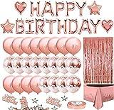 siqiwl Geburtstag Dekoration Rose Gold Ballons + Konfetti + Happy Birthday-Briefballons Braut- und Babyparty-Partyballons