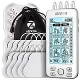 AUVON 4 Kanäle TENS Gerät EMS Trainingsgerät für Schmerzlinderung Therapie mit 24 Modi Elektro Massagegerät, 10 Stücke 2'x 2' Premium Elektroden-Pads mit patentiertem Design (weiß)