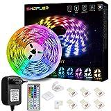 LED Strip Lichtband 5M, SHOPLED RGB SMD 5050 LED Streifen Selbstklebend, Farbwechsel Led lichterkette mit Fernbedienung LED Band Leiste für die Beleuchtung von Haus, Party, Küche