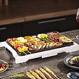 Elektrogrill, Teppanyaki Tischgrill elektrisch, Antihaftende Grillplatte, Verstellbarer Temperaturregler 1500W