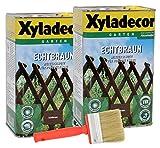 Xyladecor Echtbraun Zaunlasur 2x 2,5L + Pinsel Holzschutzlasur Holzschutz