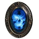 TRIXES Sprechender Spiegel in Schwarz und Gold Ovaler Halloween Spiegel mit gruseligen B