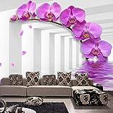 Fototapete Kunst 3d lila Blume Foto Wandbild Wandpapier für Schlafzimmer Wohnzimmer Sofa Raumdekor Wallpaper,500X320CM(WxH)