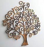kh Teile Wanddeko Holz Lebensbaum Baum Wandbild 3D Innen Außen Garten Geschenk Idee Wandschmuck Wand Deko (40 x 40 cm)