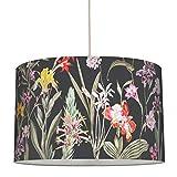 anna wand Stoff-Hängelampe BOTANICAL GARDEN Schwarz – Lampenschirm mit vintage Blumenmuster – Schirm für sanftes Licht – ø 30 x 20 cm