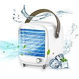 Mobile Klimageräte Mini Luftkühler, Mobile Klimaanlage Leise, Air Cooler Klimagerät Mini 4 in 1 Ventilator, Luftbefeuchter, LED Luftkühler Klein für Zuhause und Büro