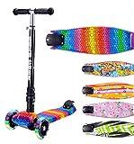 BOLDCUBE Dreirad Roller mit PU LED Räder - ab etwa 5 Jahre - 4 Stufen Einstellbare Höhe - faltbar - der sichere Premium Kinder Roller - TÜV geprüft Kickboard Tretroller (Mehrfarbig)