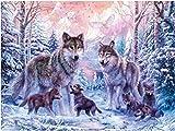 YEESAM ART Neuheiten Malen nach Zahlen Erwachsene Kinder, Schnee Wolf Wald Bäume Tier Familie 40x50 cm Leinen Segeltuch, DIY ölgemälde Weihnachten Geschenke (Wolf, Ohne Frame)