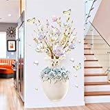 COVPAW® Wandtattoo Wandaufkleber XXL Blumen Vase Wandsticker Wandbild Bilder Wohnzimmer Schlafzimmer Deco (Vase3)