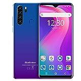 Blackview A80 Plus Smartphone ohne Vertrag, 6,49 Zoll Android 10 Octa-core, 4680mAh Akku 4GB RAM 64GB Speicher, 13MP+8MP Kamera, NFC/Face ID/Fingerabdruck/GPS 4G Dual SIM Handy (Mist Blau)