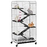 Yahee Nagervoliere Käfig für Erwachsene Ratten Kaninchen Frettchen Chinchillas 64 x 43,7 x 131,2 cm Weiß