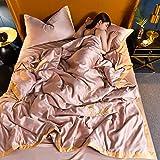 Bedding-LZ BettwäSche 200 X 200 cm Baumwolle,Set Von Eisseide Vierteilige SommerbettwäSche-B_1,5m Bett (4 StüCk)