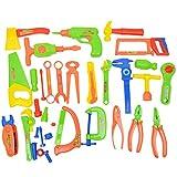 Hellery 33PCS Plastic Emulation Saw Hammer Toolbox Kit Jungen Mädchen Geben vor, Spielzeug zu Spielen