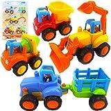MalPlay Baustellenfahrzeuge Set | Betonmischer Bagger Traktor Kipper | Mehrzweck-Lernspielzeug Spielzeugauto | für Baby Kleinkind Geburtstagsgeschenk ab 12 M