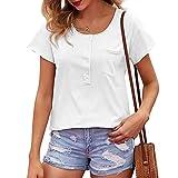 XUNN Damen Tops Mode Sexy Lässig Rundhals-Knopf Loses kurzärmeliges T-Shirt Oberteil Frauen Top Bluse