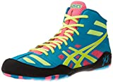 ASICS Men's JB Elite Wrestling Shoe,Teal/Flash Yellow/Pink,11.5 M US/45 EU