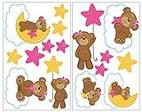 Samunshi® 16x Wandtattoo Bärchen Set Wandbilder Kinderzimmer Deko Junge Wandtattoo Kinderzimmer Mädchen Wandsticker Kinderzimmer 2X 16x26