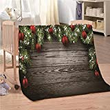 Flanelldecke Kuscheldecke Weihnachtskugeln Holzbrett Sherpa Decke 3D Gedruckt Warm Flauschige Decke TV-Decke Sofadecke Wohndecke Tagesdecke Kinderdecken 130x150cm