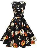 Gardenwed Damen 1950er Vintage Cocktailkleid Rockabilly Retro Schwingen Kleid Faltenrock Ghost2 XL