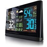 Brandson Funk Wetterstation mit Farbdisplay - mit Außensensor - DCF Empfangssignal Funkuhr - Innen- und Außentemperatur - relativer Luftdruck - Barometer - Temperaturtrend – Lichtsensor - LCD-Display