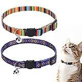 SCENEREAL Verstellbares Katzenhalsband mit Glöckchen, ethnischer Stil, 2 Stück