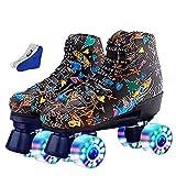 WOERD Roller Skates Rollschuh Schuhe für Damen/Herren,Soft Boot Rollschuhe Retro High Top Design Coole Rollschuhe,Vierrad Rollschuhe Doppelreihig Glänzend Rollschuhe,für Indoor Outdoor