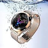 KW10 Smartwatch, Herzfrequenz-Uhr, Aktivitätstracker buntes Display, Smart-Stahl-Armband, verbunden mit Schrittzähler, physiologische Erinnerung, wasserdicht IP68 Sportuhr für Android iOS